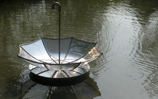 Xixi Umbrellas: public art on water in the Xixi Wetlands in Hangzhou, China by Mags Harries and Lajos Héder