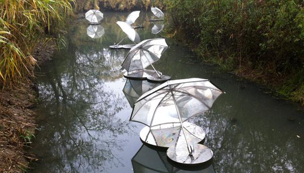 Xixi Umbrellas public art sculpture at Xixi Wetlands Park of Hangzhou, China.
