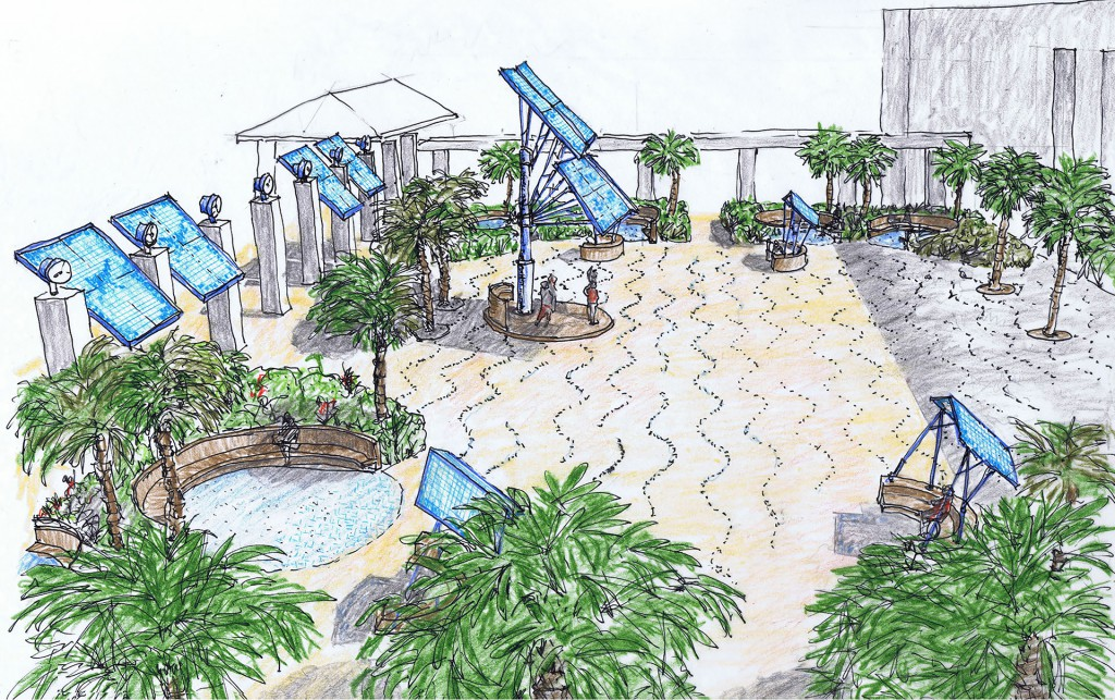 Mags Harries & Lajos Héder's concept proposal for the Palm Beach County Convention Center Courtyard.