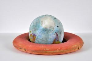 Mags Harries. Deflated Earth. 3D print. 2016. photo by: Kathy Chapman